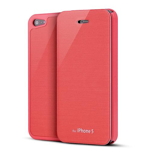 Apple iPhone SE / 5 / 5S Wallet Case,  [Hot Pink Melon]  Diary Flip Cover Hard Case w/ ID Slot & Satin Cover