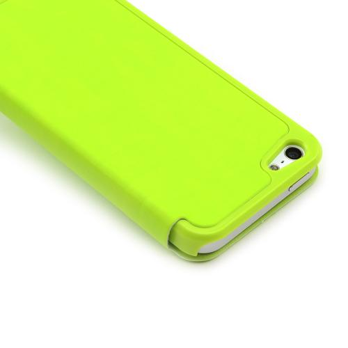 Apple iPhone SE / 5 / 5S Wallet Case,  [Lime Green]  Diary Flip Cover Hard Case w/ ID Slot & Satin Cover