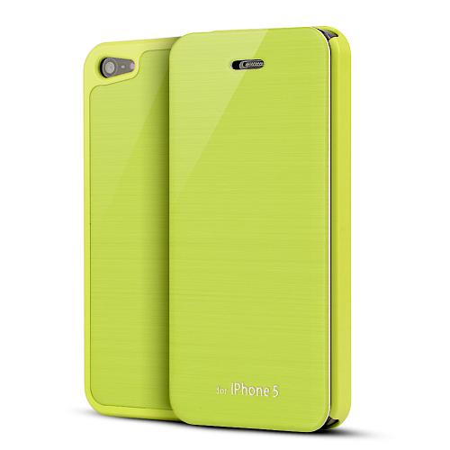 Lime Green Exclusive Diary Flip Cover Hard Case w/ ID Slot & Satin Cover for Apple iPhone 5/5S