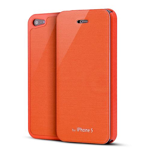 Apple iPhone SE / 5 / 5S Wallet Case,  [Orange]  Diary Flip Cover Hard Case w/ ID Slot & Satin Cover