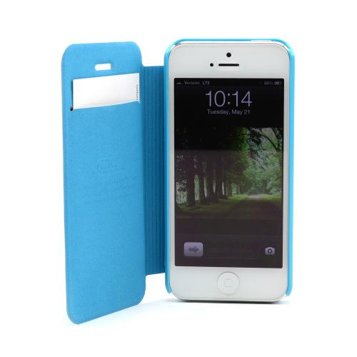Apple iPhone SE / 5 / 5S Wallet Case,  [Sky Blue]  Diary Flip Cover Hard Case w/ ID Slot & Satin Cover
