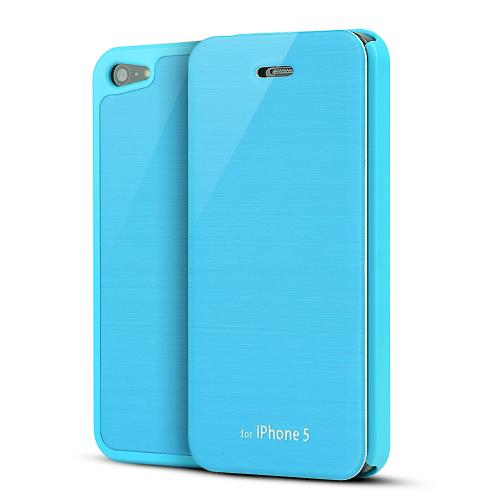 Sky Blue Exclusive Diary Flip Cover Hard Case w/ ID Slot & Satin Cover for Apple iPhone 5/5S - XXIP5