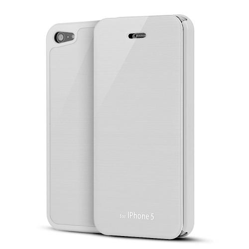 White Diary Flip Cover Hard Case w/ ID Slot & Satin Cover for Apple iPhone 5/5S