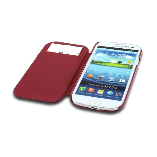 Burgundy Exclusive Diary Flip Cover Hard Case w/ ID Slot & Satin Cover for Samsung Galaxy S3