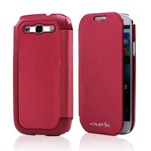 Burgundy Exclusive CellLine Diary Flip Cover Hard Case w/ ID Slot & Satin Cover for Samsung Galaxy S3
