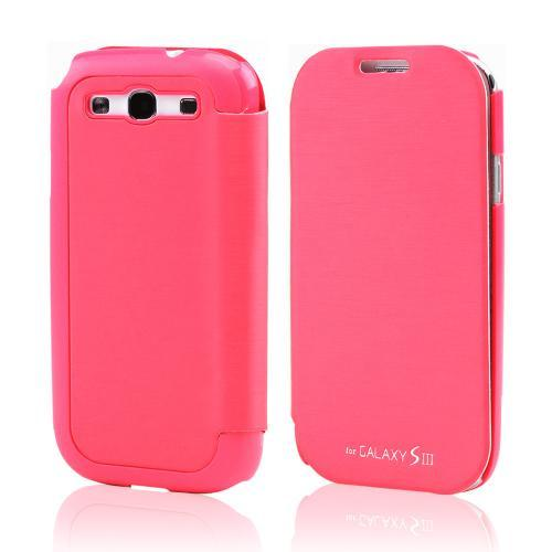 Hot Pink Melon Diary Flip Cover Hard Case w/ ID Slot & Satin Cover for Samsung Galaxy S3