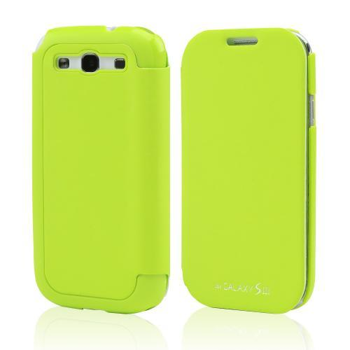 Lime Green Exclusive  Diary Flip Cover Hard Case w/ ID Slot & Satin Cover for Samsung Galaxy S3