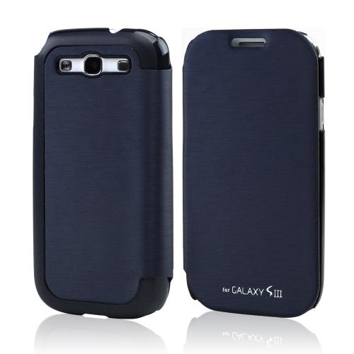 Navy Blue Exclusive Diary Flip Cover Hard Case w/ ID Slot & Satin Cover for Samsung Galaxy S3