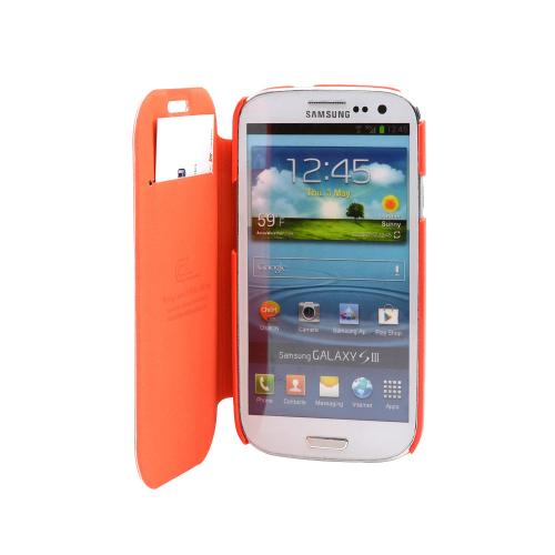 Orange Diary Flip Cover Hard Case w/ ID Slot & Satin Cover for Samsung Galaxy S3