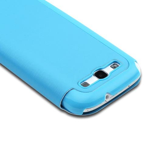 Sky Blue Diary Flip Cover Hard Case w/ ID Slot & Satin Cover for Samsung Galaxy S3