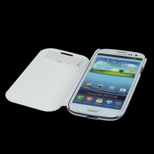 White Diary Flip Cover Hard Case w/ ID Slot & Satin Cover for Samsung Galaxy S3