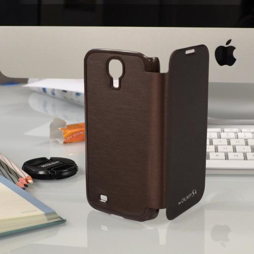 Brown Exclusive AccessoryGeeks Flip Cover Case w/ ID Slot, Satin Cover & Free Screen Protector for Samsung Galaxy S4
