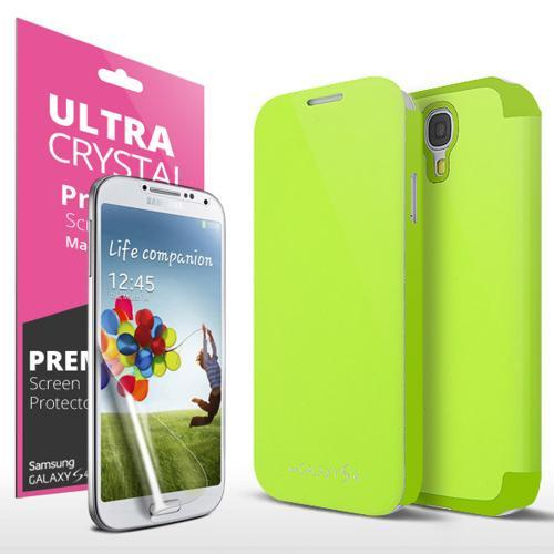 Neon Lime Green Exclusive Diary Flip Cover Hard Case w/ ID Slot, Satin Cover, & Screen Protector for Samsung Galaxy S4