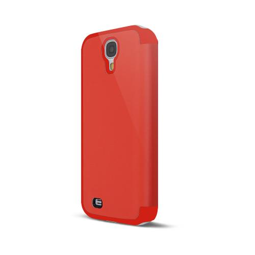 Orange Exclusive  Diary Flip Cover Hard Case w/ ID Slot, Satin Cover, & Screen Protector for Samsung Galaxy S4