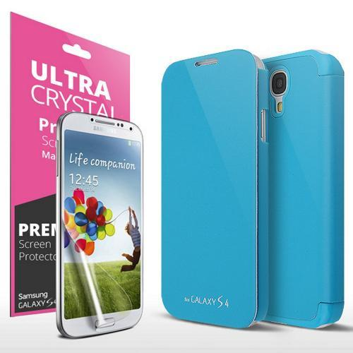 Sky Blue Flip Cover Case w/ ID Slot, Satin Cover & Free Screen Protector for Samsung Galaxy S4