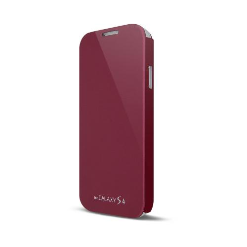 Wine Red Exclusive Diary Flip Cover Hard Case w/ ID Slot, Satin Cover, & Screen Protector for Samsung Galaxy S4