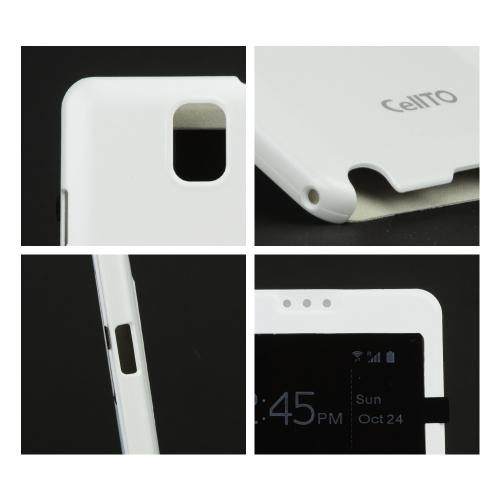 Galaxy Note 3 Case, [White ] Flip Cover Case with ID Slots for Samsung Galaxy Note 3