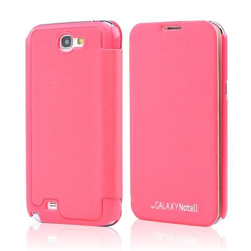 Hot Pink Melon Diary Flip Cover Hard Case w/ ID Slot & Satin Cover for Samsung Galaxy Note 2