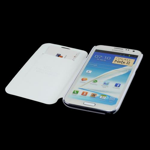 White Diary Flip Cover Hard Case w/ ID Slot & Satin Cover for Samsung Galaxy Note 2