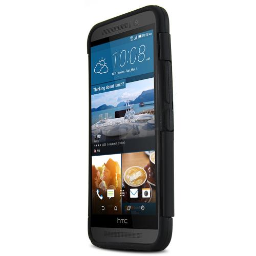 HTC One M9 Case, [Black]  Dual Material Rubberized & Glossy Hard Plastic Protective Hybrid Case