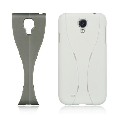 White/ Gray Dual Material Hard Case (Rubberized & Glossy Plastic) for Samsung Galaxy S4