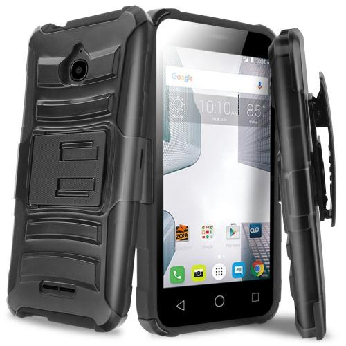 [Alcatel Dawn / Acquire / Streak] Holster Case, REDshield [Black] Supreme Protection Hard Plastic on Silicone Skin Dual Layer Hybrid Case