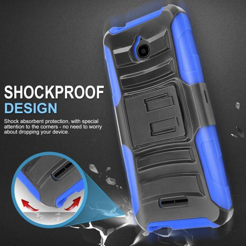 [Alcatel Dawn / Acquire / Streak] Holster Case, REDshield [Blue] Supreme Protection Hard Plastic on Silicone Skin Dual Layer Hybrid Case