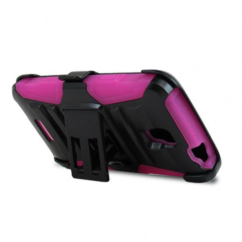Alcatel OneTouch Elevate Holster Case, [Hot Pink] Supreme Protection Plastic on Silicone Dual Layer Hybrid Case