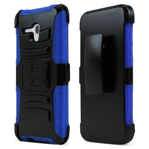 Alcatel OneTouch Fierce XL Holster Case, [Blue] Supreme Protection Plastic on Silicone Dual Layer Hybrid Case