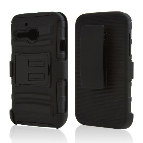 Alcatel One Touch Evolve Rubberized Hard Case w/ Kickstand on Silicone Skin Case w/ Holster [Black]