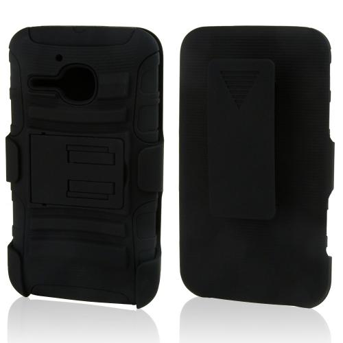 Black Hard Case w/ Kickstand on Black Silicone Skin Case w/ Holster for Alcatel One Touch Evolve