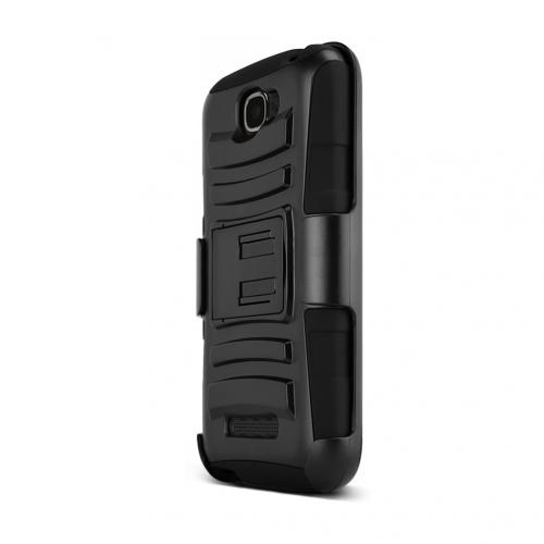 Black Alcatel One Touch Fierce 2 Dual Layer Hard Case w/ Kickstand on Black Silicone Skin Case w/ Holster - Great Protection!
