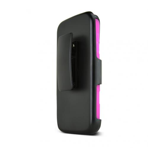 Black Alcatel One Touch Fierce 2 Dual Layer Hard Case w/ Kickstand on Hot Pink Silicone Skin Case w/ Holster - Great Protection!