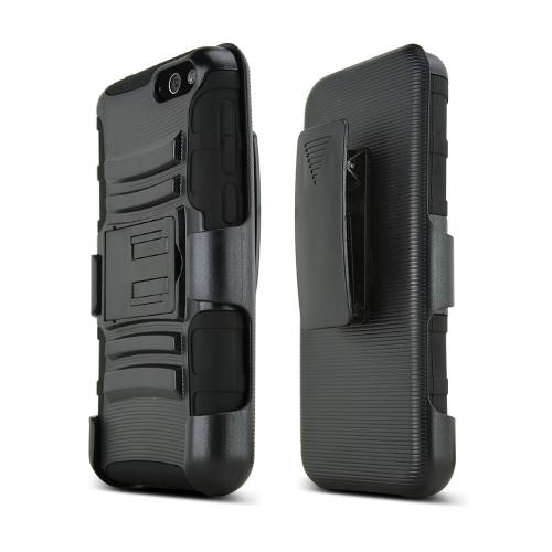 Black Amazon Fire Phone Hard Case w/ Kickstand on Black Silicone Skin Case w/ Holster