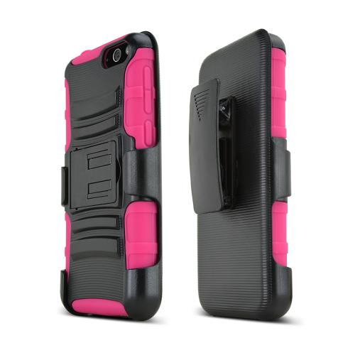 Black Amazon Fire Phone Hard Case w/ Kickstand on Hot Pink Silicone Skin Case w/ Holster