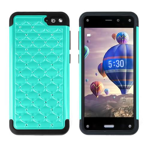 Dark Mint Amazon Fire Phone Dual Layer Hard Cover w/ Bling Over Black Silicone Skin Case