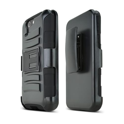 Black Asus PadFone X Phone Hard Case w/ Kickstand on Black Silicone Skin Case w/ Holster