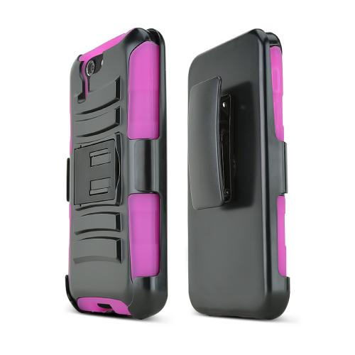 Black Asus PadFone X Phone Hard Case w/ Kickstand on Hot Pink Silicone Skin Case w/ Holster