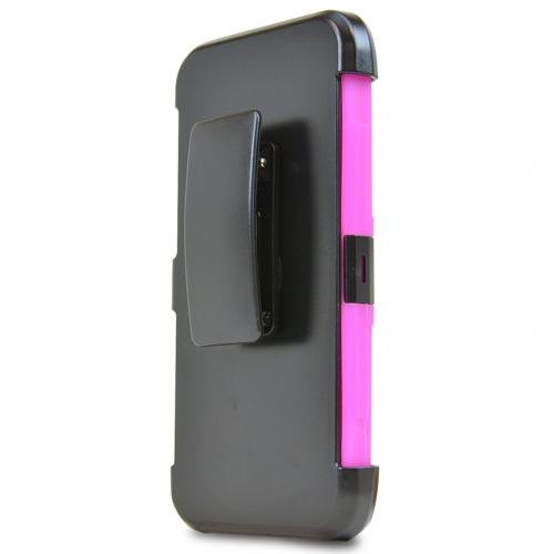 Asus Zenfone 2E Holster Case, [Hot Pink] Supreme Protection Plastic on Silicone Dual Layer Hybrid Case