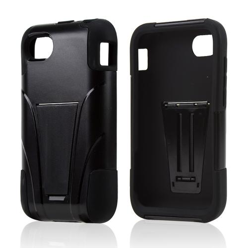 Black Hard Cover w/ Kickstand on Black Silicone Skin Case for Blackberry Q5