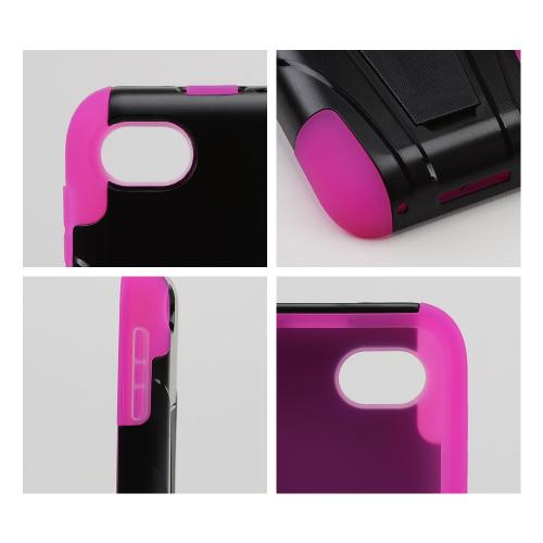 Black Hard Cover w/ Kickstand on Hot Pink Silicone Skin Case for Blackberry Q5