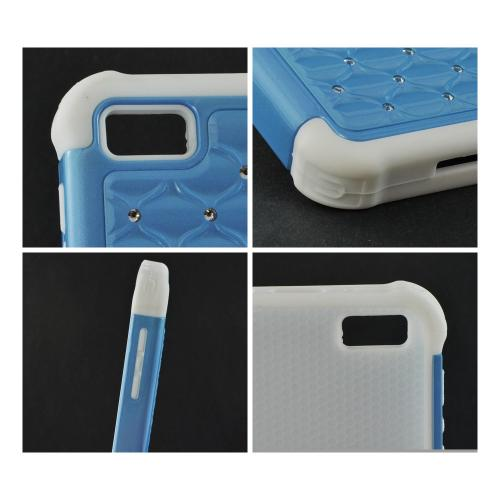 Baby Blue Hard Cover on White Silicone Case w/ Silver Gems for BlackBerry Z10