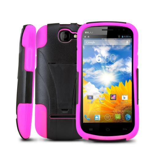 Black Hard Case w/ Kickstand on Hot Pink Silicone Skin for Blu Dash 4.5