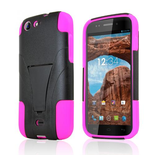 Black Hard Case w/ Kickstand on Hot Pink Silicone Skin for Blu Life One