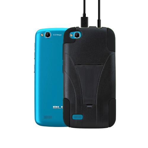 Black Hard Case w/ Kickstand on Black Silicone Skin for Blu Life Play