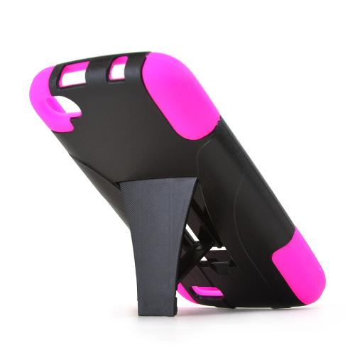 Black Hard Case w/ Kickstand on Hot Pink Silicone Skin for Blu Life Play