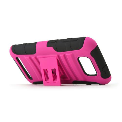 Hot Pink Case w/ Kickstand on Black Silicone Case w/ Holster for Blu Studio 5.5