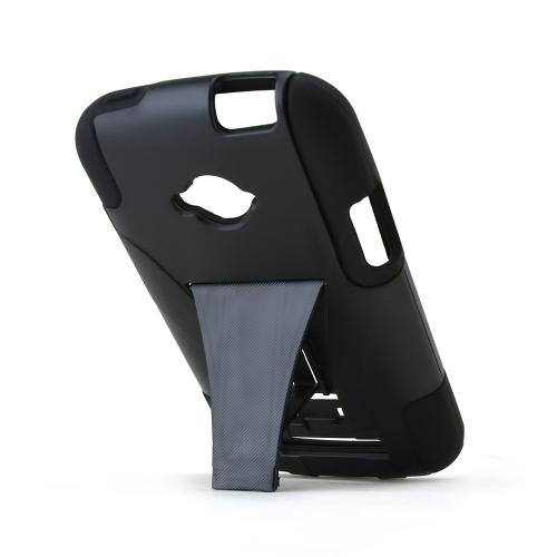 Black Hard Case w/ Kickstand on Black Silicone Skin for Blu Tank 4.5