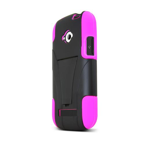 Black Hard Case w/ Kickstand on Hot Pink Silicone Skin for Blu Tank 4.5