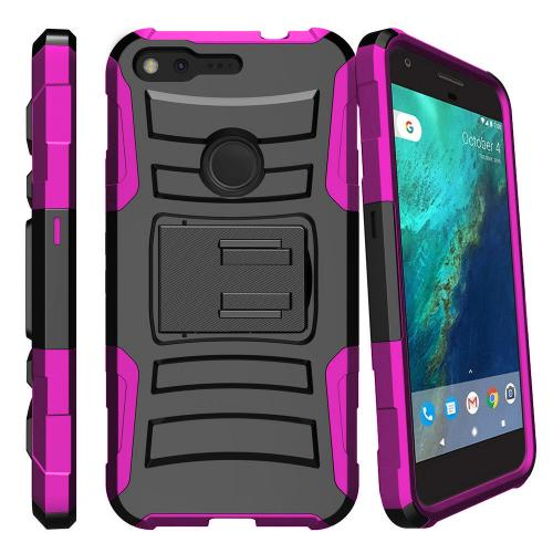 Google Pixel Case, REDshield [Hot Pink] Supreme Protection Hard Plastic on Silicone Skin Dual Layer Hybrid Case